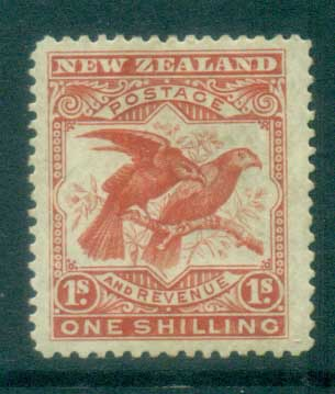 New Zealand 1898 Pictorials, Birds, Kea & Kaku 1/- MH