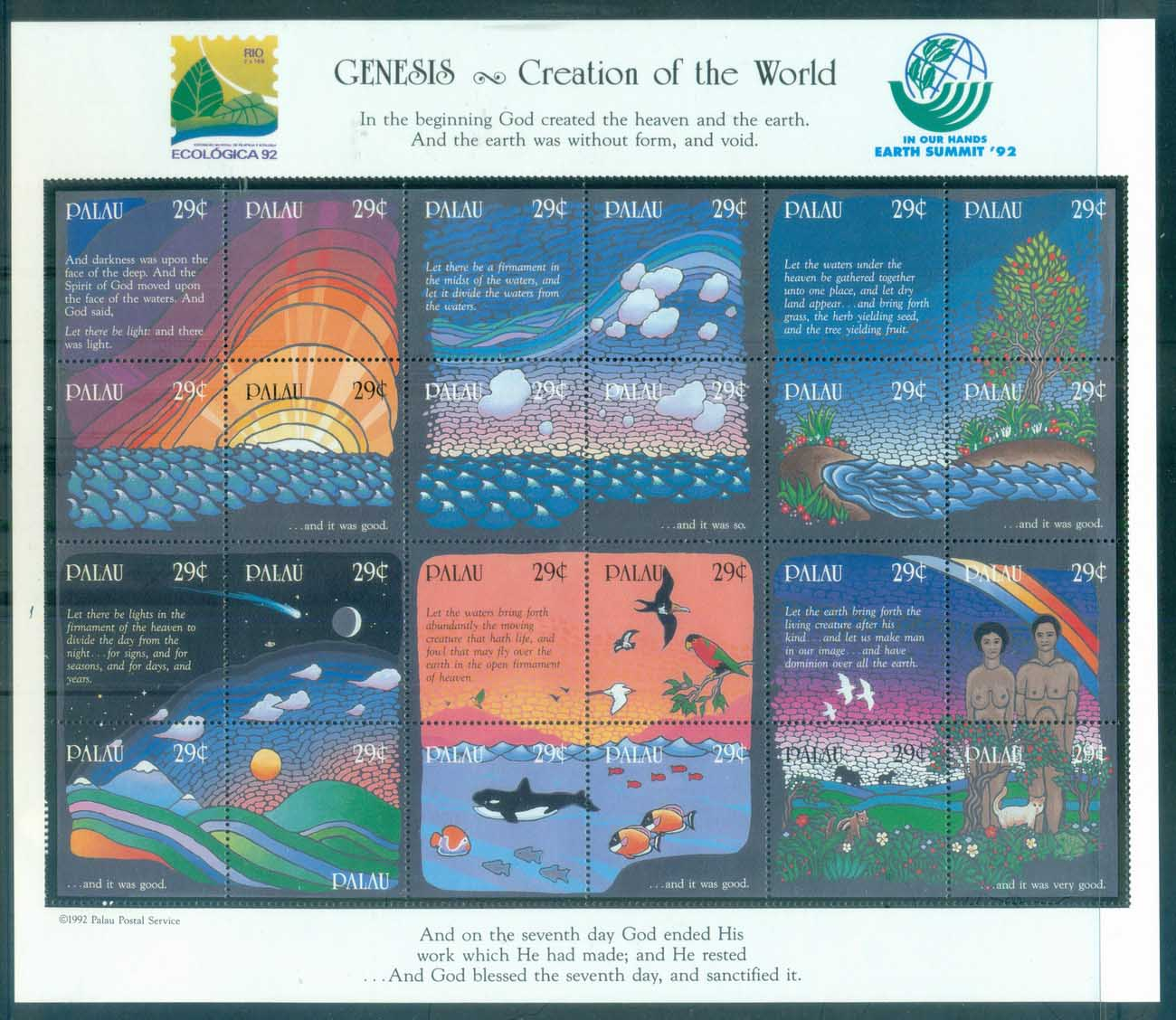 Palau 1992 Genesis, Creation of the World Sheetlet MUH