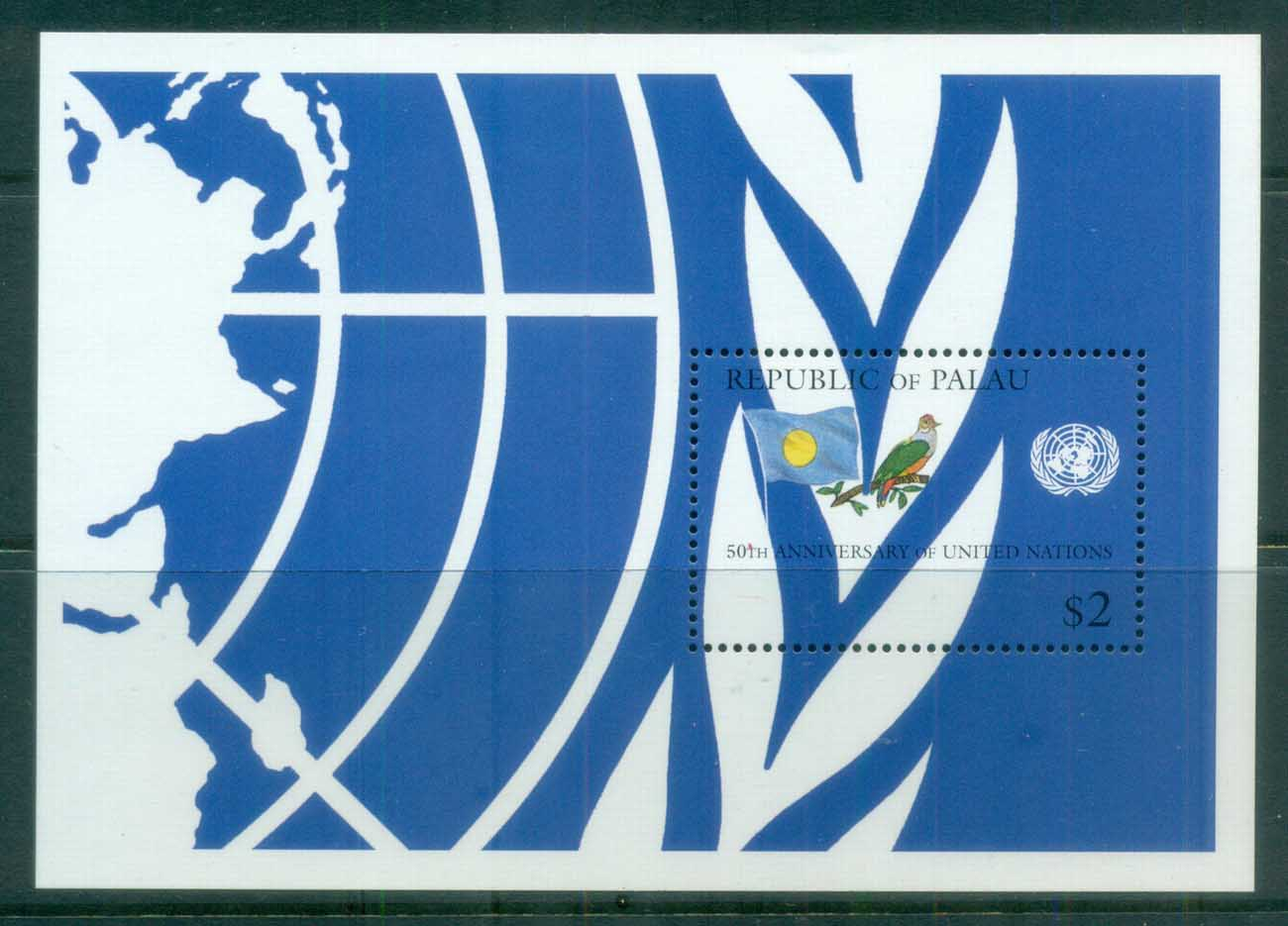 Palau 1995 UN, FAO 50th Anniv, Flag, Bird MS MUH