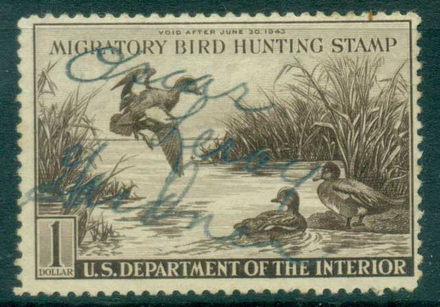 USA 1942 Sc#RW9 Federal Duck Stamp, Birds, Wigeon Used