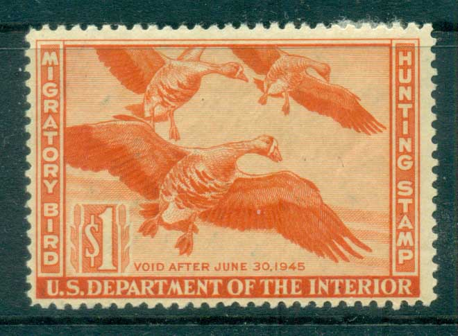 USA 1944 Sc#RW11 Federal Duck Stamp, Birds, White-fronted Goose MUH