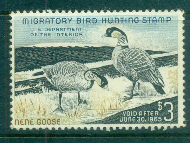 USA 1964 Sc#RW31 Federal Duck Stamp, Birds, Nene Goose MLH