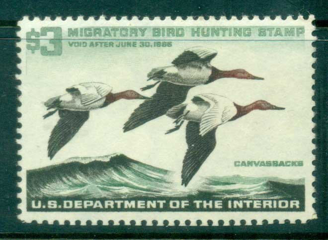 USA 1965 Sc#RW32 Federal Duck Stamp, Birds, Canvasback MLH