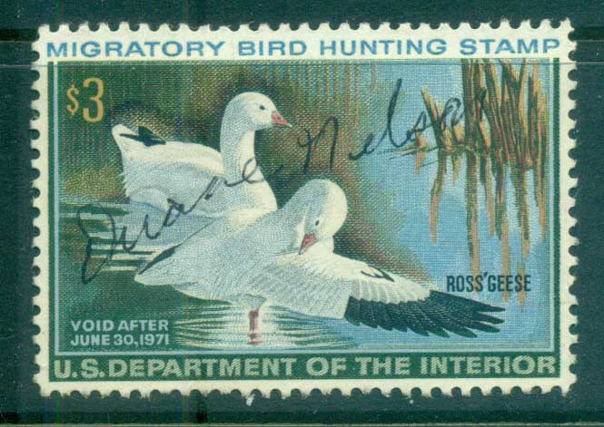 USA 1970 Sc#RW37 Federal Duck Stamp, Birds, Ross' Goose Used