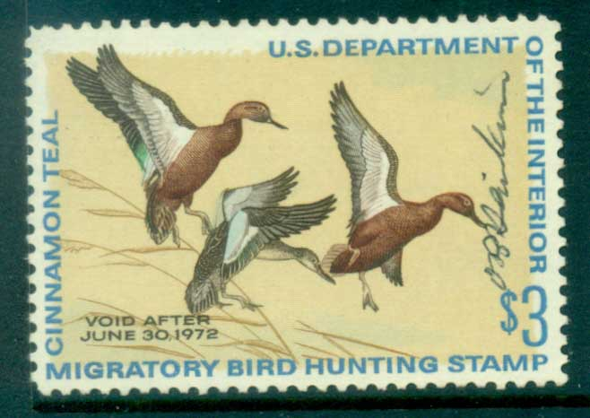 USA 1971 Sc#RW38 Federal Duck Stamp, Birds, Cinnamon Teal Used
