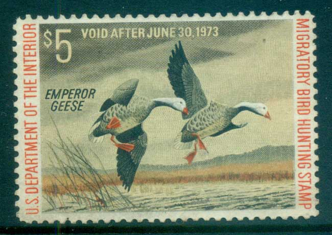 USA 1972 Sc#RW39 Federal Duck Stamp, Birds, Emperor Goose MNG