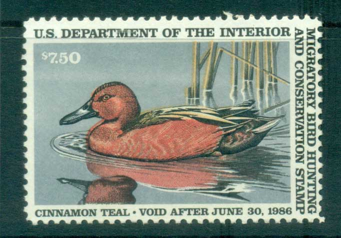 USA 1985 Sc#RW52 Federal Duck Stamp, Birds, Cinnamon Teal MUH