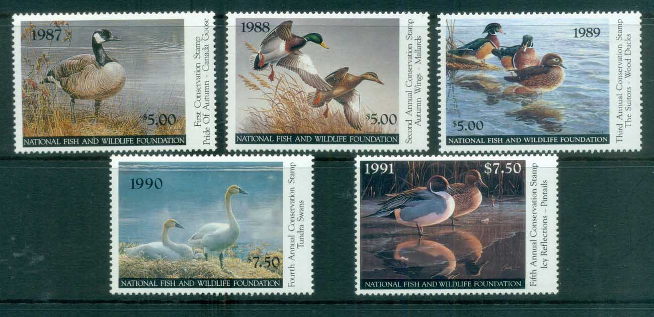 USA 1987-91 National Fish & Wildlife Federation Stamps MUH