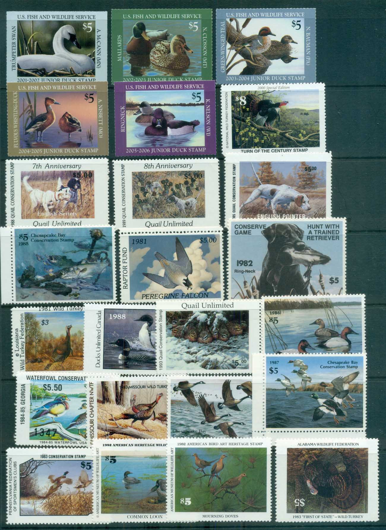 USA 1980's on Assorted Oddments, Wildlife & Game Stamps (inc INVERTED CENTRE) MLH/MUH