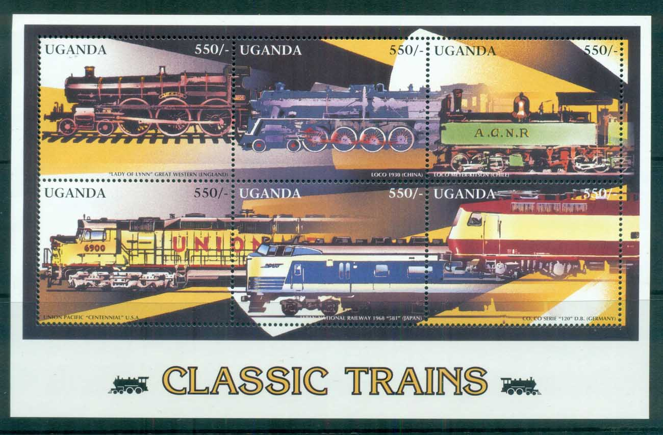 Uganda 1996 Classic Trains MS MUH