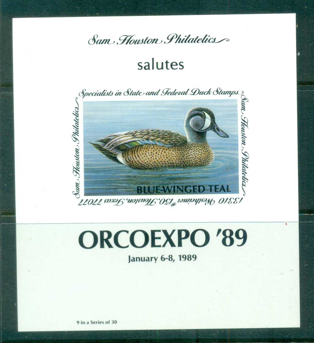 USA 1989 Sam Houston Philatelics Duck Stamp , Birds, Blue-Winged Teal, ORCOEXPO, IMPERF MS MUH
