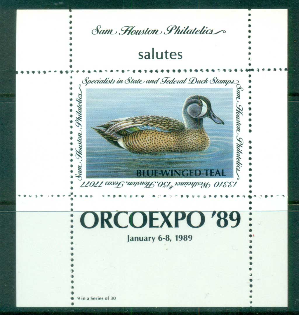 USA 1989 Sam Houston Philatelics Duck Stamp , Birds, Blue-Winged Teal, ORCOEXPO, MS MUH