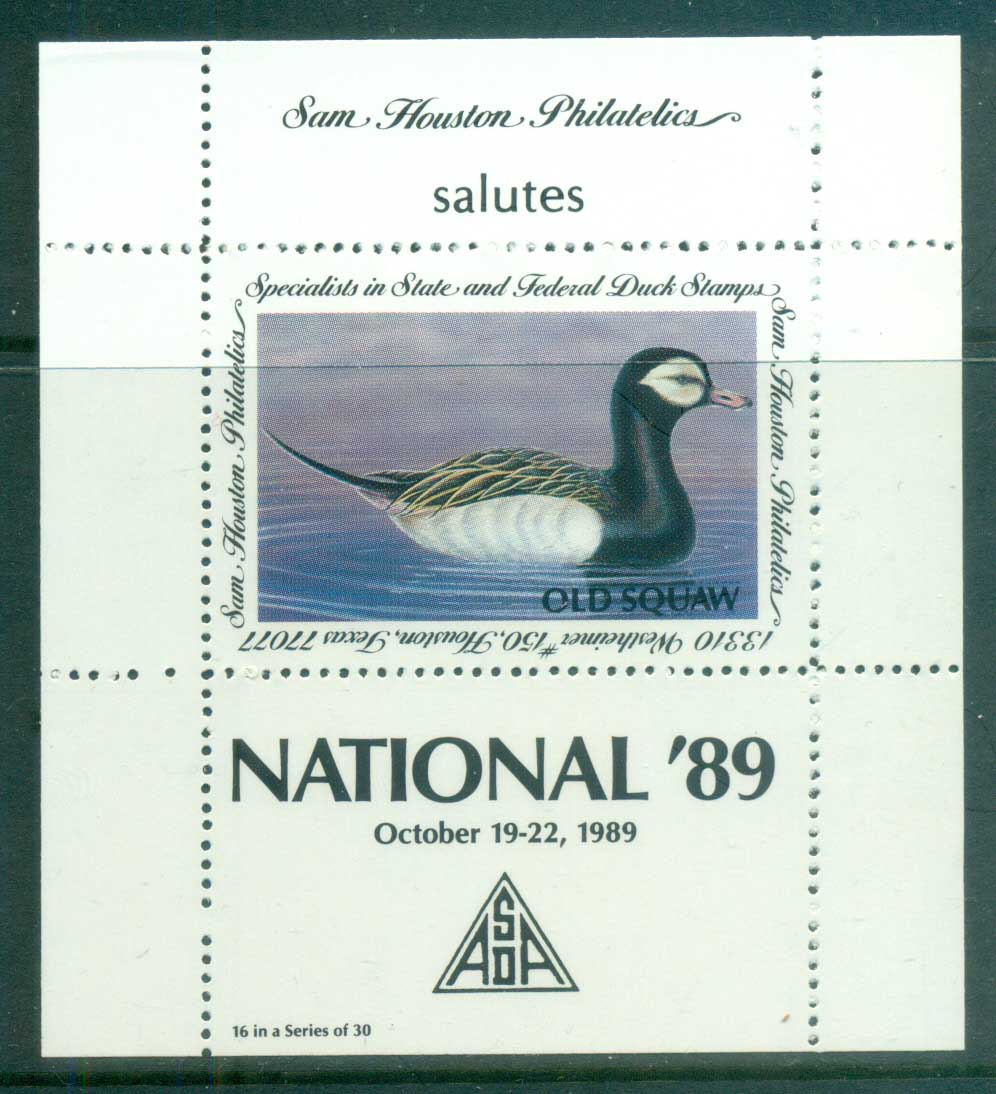 USA 1989 Sam Houston Philatelics Duck Stamp , Birds, Old Squaw, NATIONAL, MS MUH