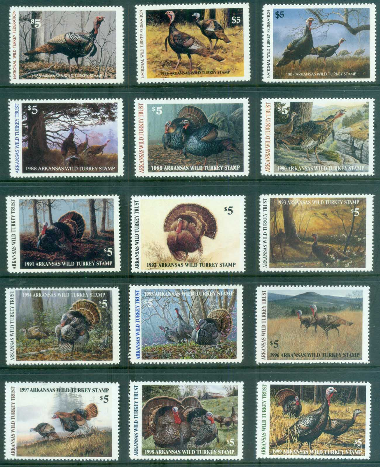 USA 1979-99 Wild Turkey Research Stamps MUH