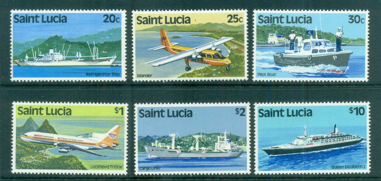 St Lucia 1980 Pictorials Asst to $10, Ships & Planes MUH