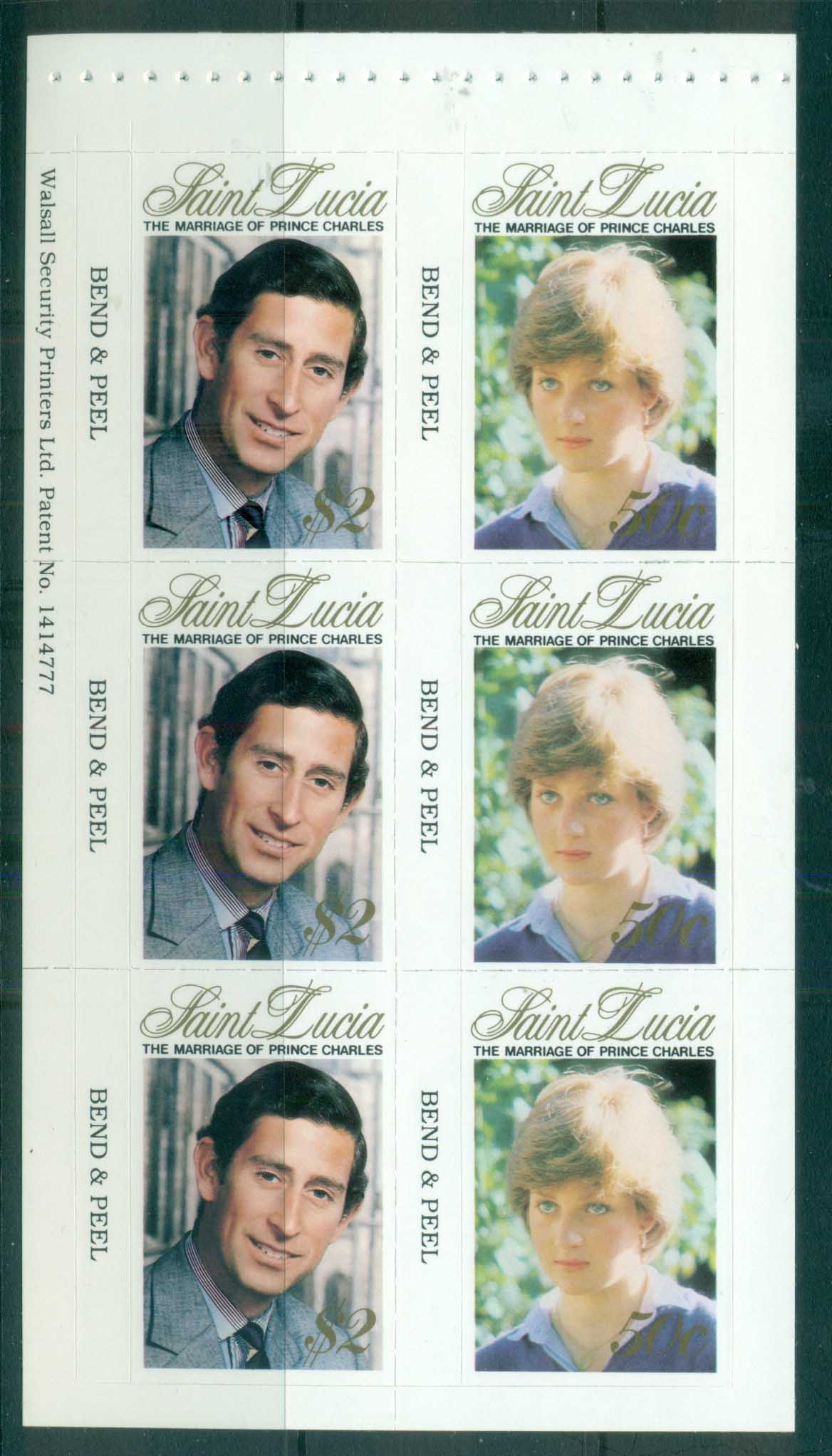 St Lucia 1981 Royal Wedding Charles & Diana P&S booklet pane MUH