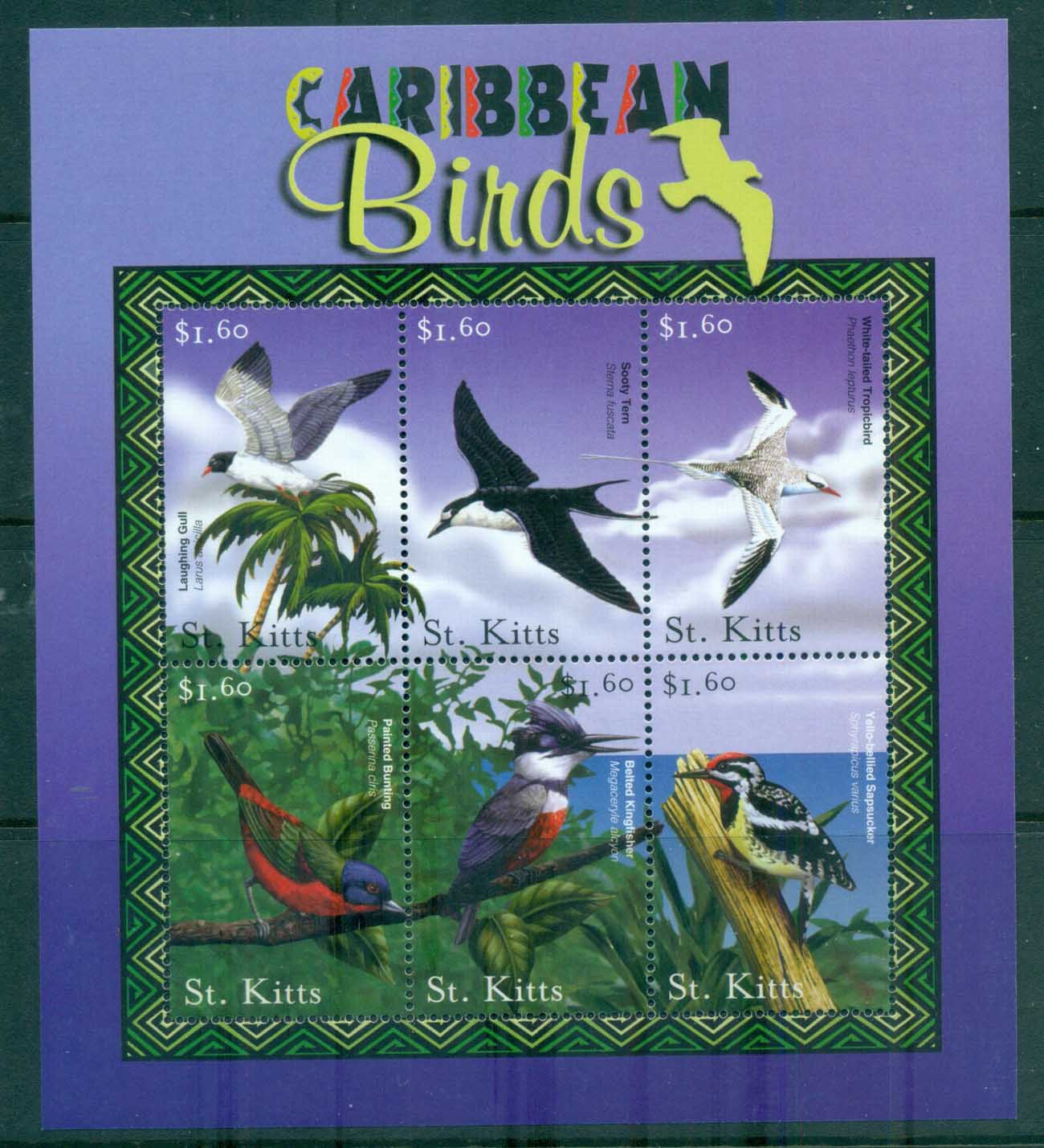 St Kitts 2001 Caribbean Birds MS MUH