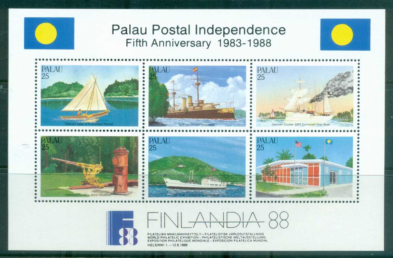Palau 1988 Postal History Independence 5th Anniv. MS MUH