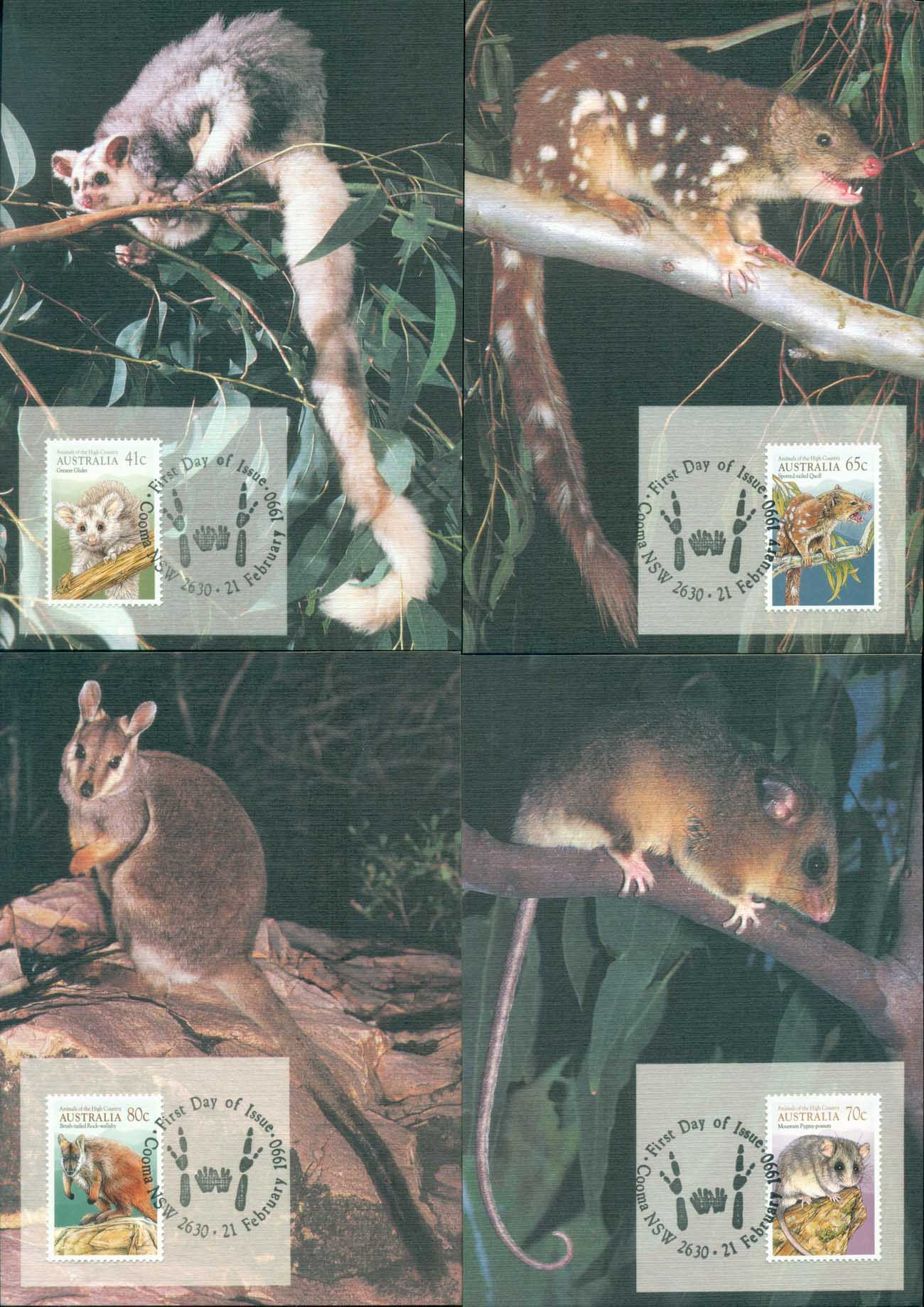Australia 1990 Animals of the High Country 4xMaxicards