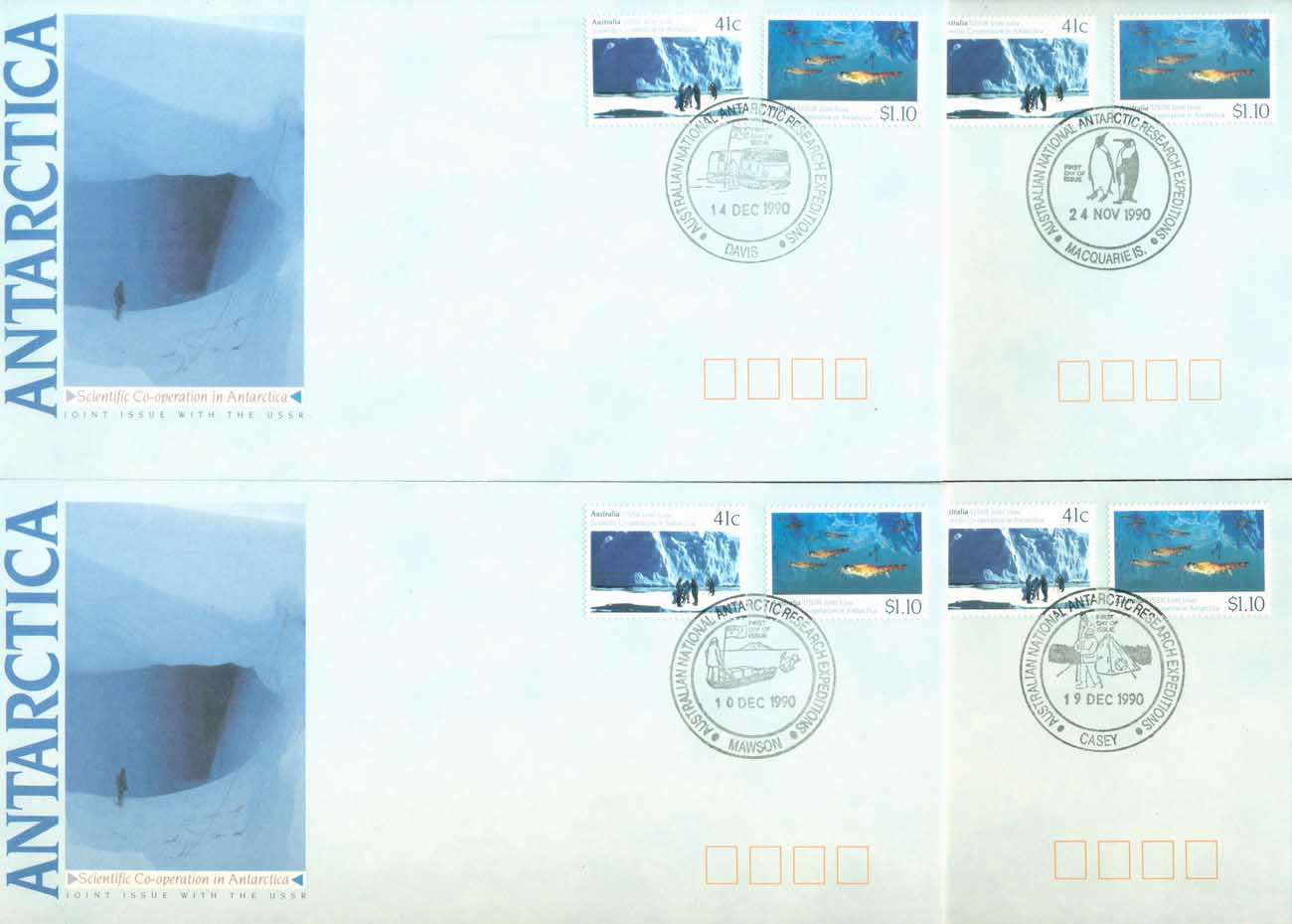 AAT 1990 Antarctic Research Base Set 4xFDC