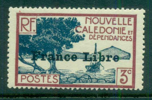 New Caledonia 1941 Pictorials Opt France Libre, Bay of Paletuviers 3c MLH