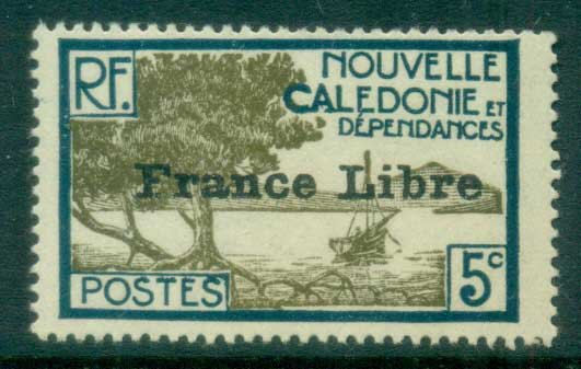 New Caledonia 1941 Pictorials Opt France Libre, Bay of Paletuviers 5c MLH