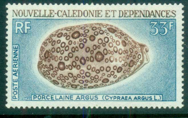 New Caledonia 1970 Shells, Cowrie 35fr (thin) MLH