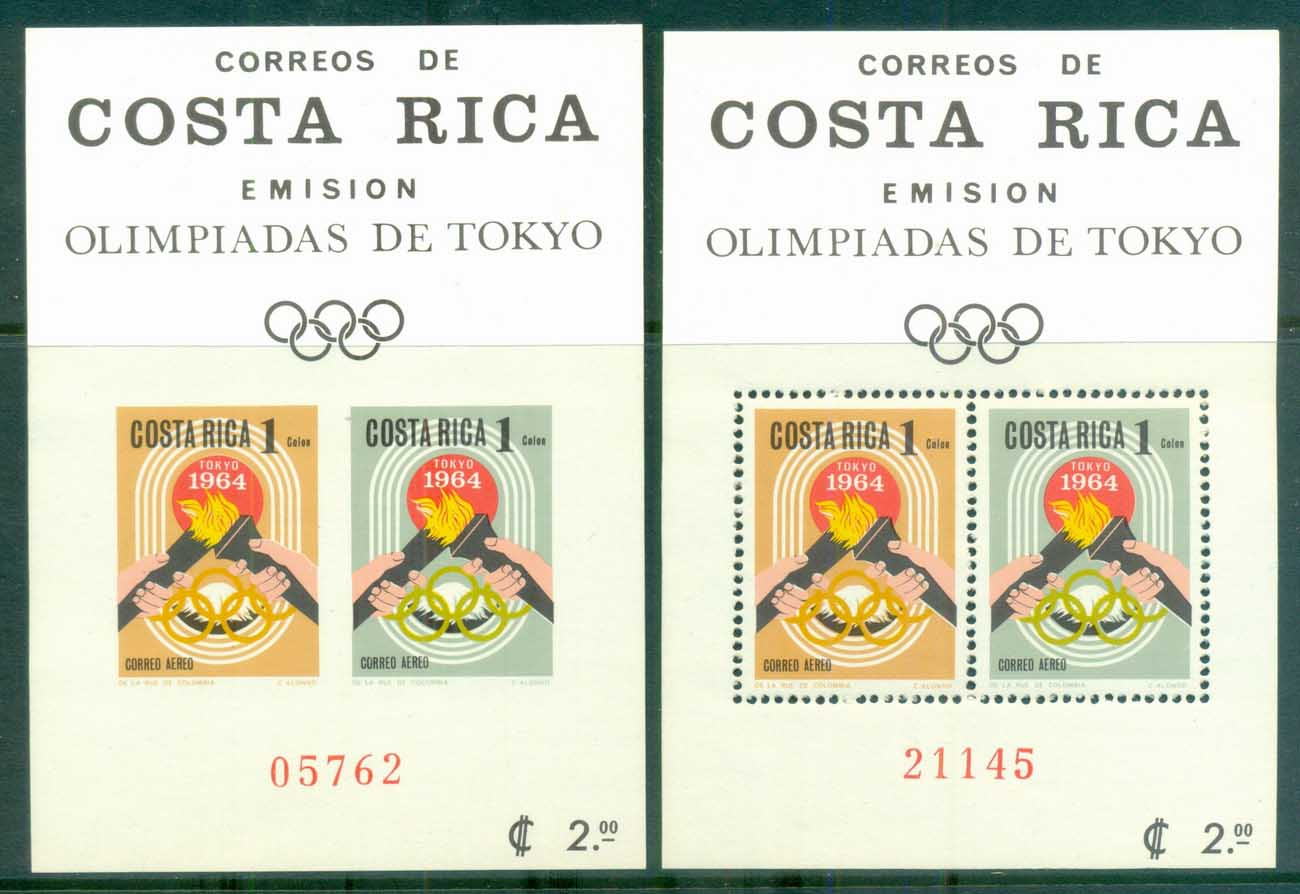 Costa Rica 1965 Summer Olympics, Tokyo Perf & IMPERF MS MUH