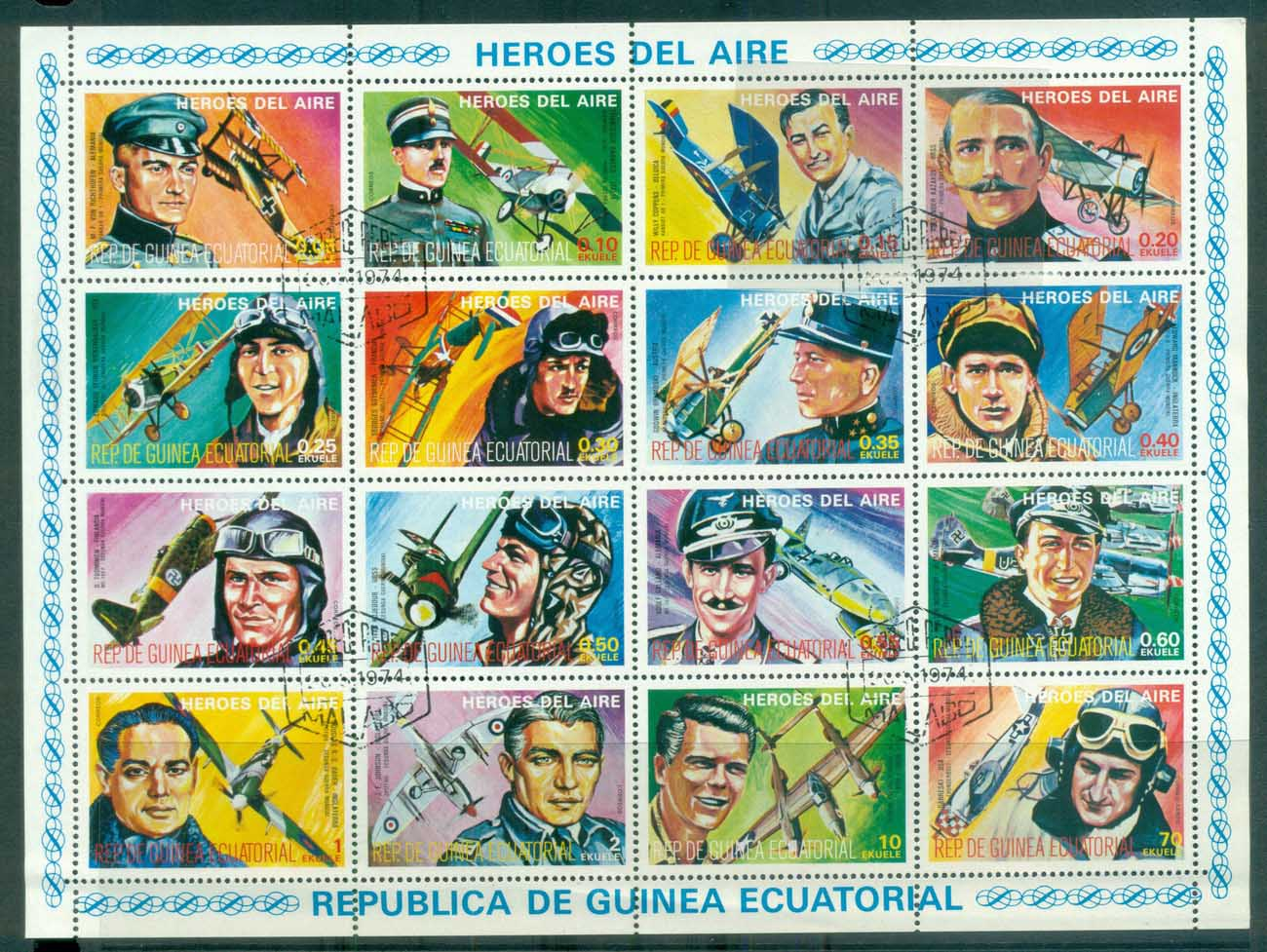 Equatorial Guinea 1974 Heroes of the Air MS CTO