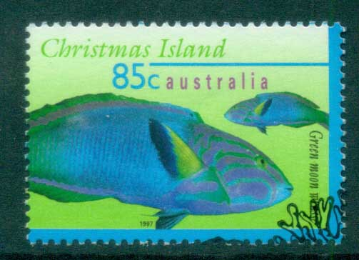 Christmas Is 1996-97 Marine Fish, 85c Green Moon Wrasse FU