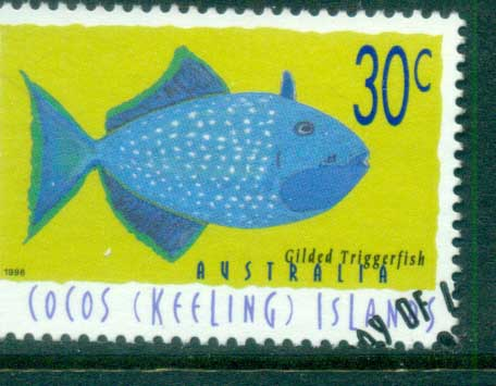 Cocos Keeling Is 1996 Fish, 30c Guilded Triggerfish FU