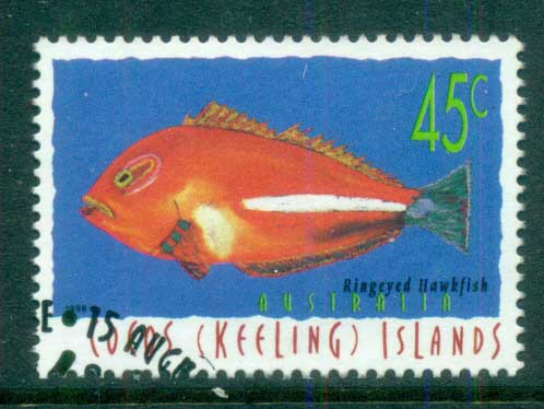 Cocos Keeling Is 1996 Fish, 45c Ringeyed Hawkfish FU