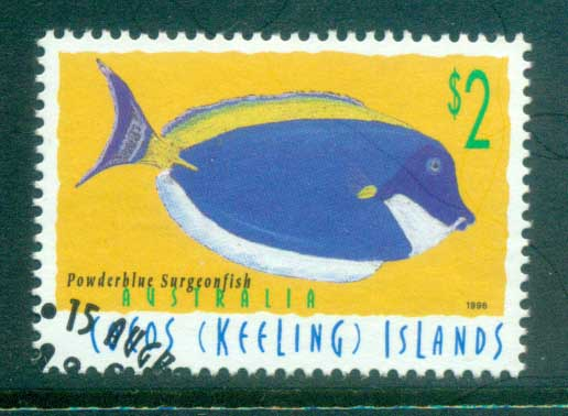 Cocos Keeling Is 1996 Fish, $2 Powder Blue Surgeonfish FU
