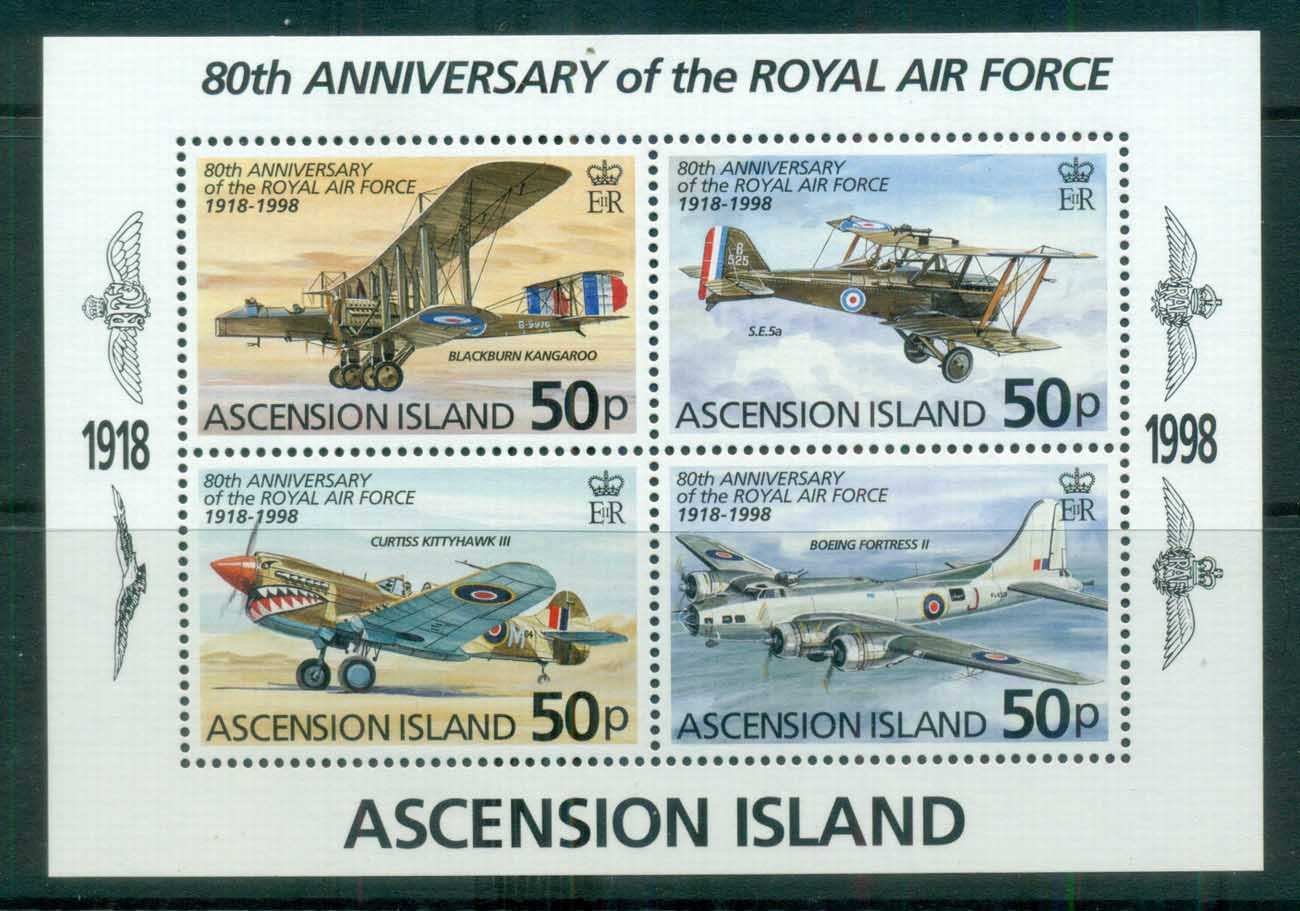 Ascension Is 1998 RAF 80th Anniv MS MUH