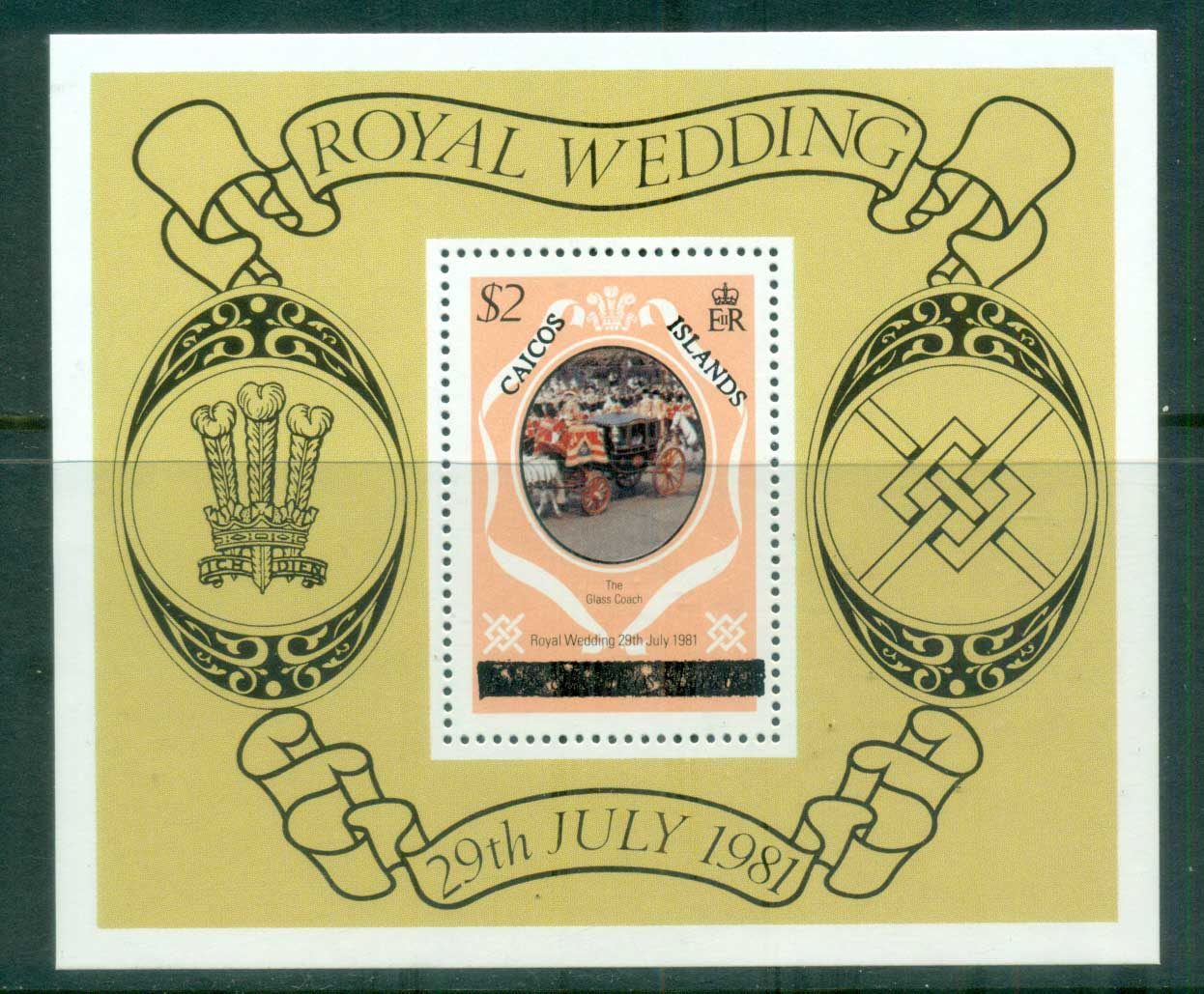 Caicos Is 1981 Royal Wedding, Charles & Diana (Uppercase letters) MS MUH