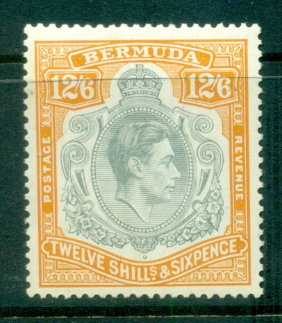 Bermuda 1950 KGVI 12/6d grey & pale orange MLH