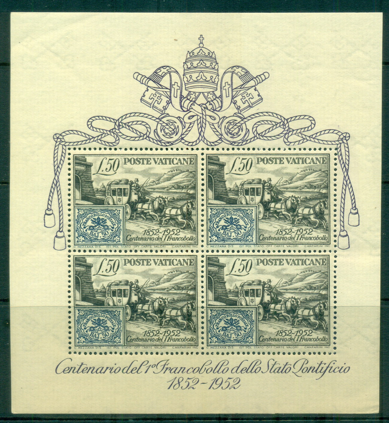 Vatican 1952 Papal States Stamp centenary MS MUH