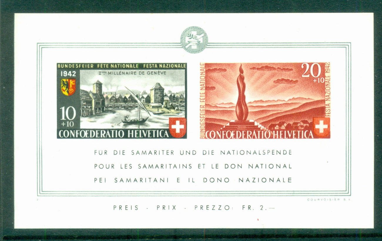 Switzerland 1942 National Fete Day MS MUH