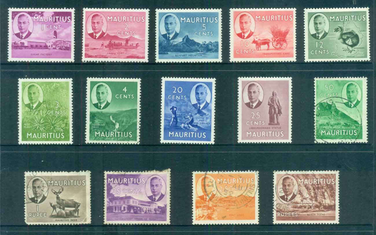 Mauritius 1950 KGVI Pictorials to 5r (1r faulty) MLH/FU