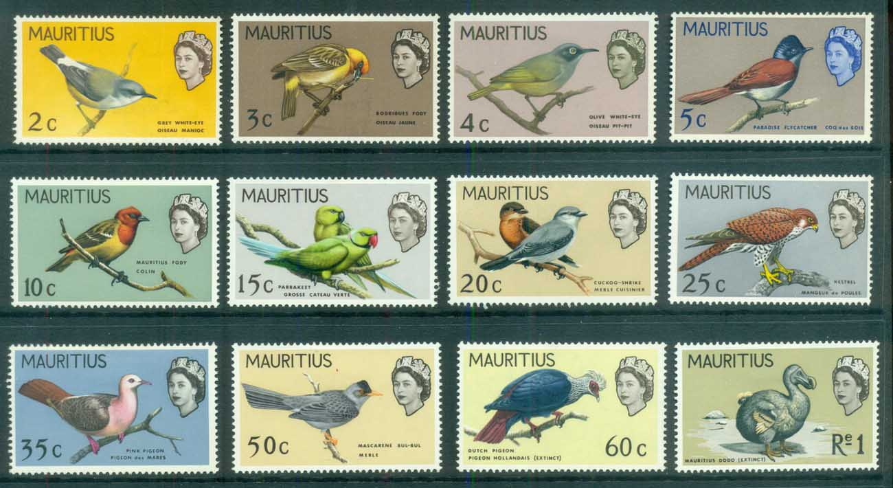 Mauritius 1965 Birds to 1r MLH