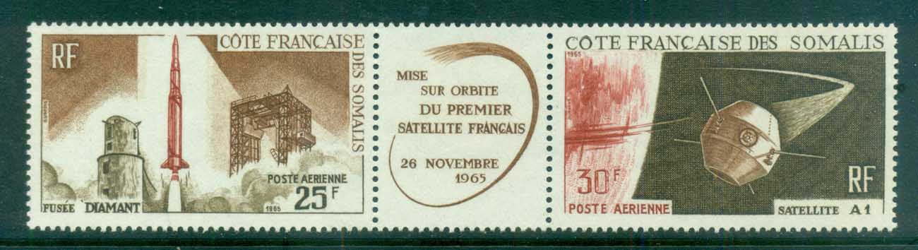 Somali Coast 1966 Space Satellite A 1 pr + label MUH