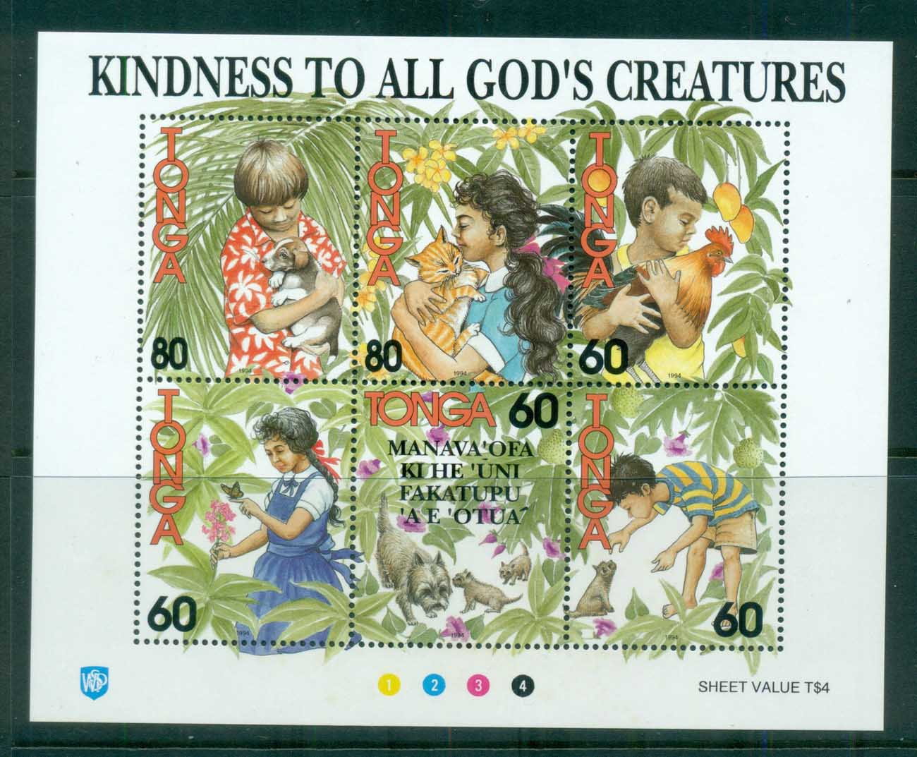Tonga 1994 Kindness to All God's Creatures MS MUH