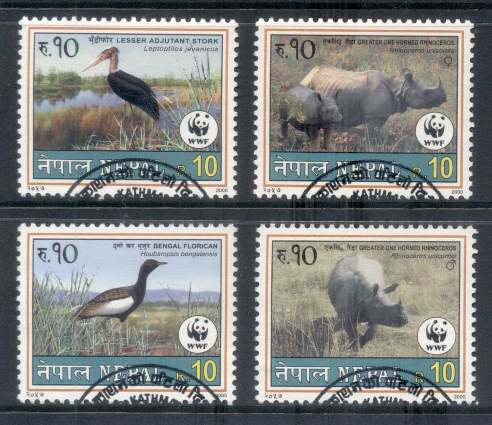 Nepal 2000 WWF Wildlife, Rhino, Birds FU