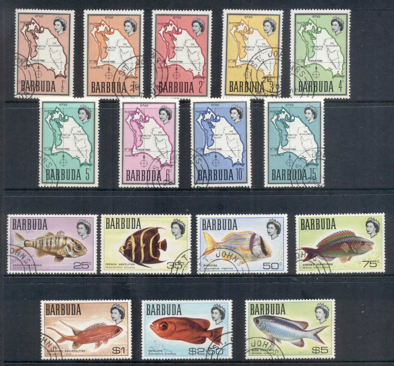 Barbuda 1968-70 Pictorials, Map, Fish (16/17, no 20c) FU