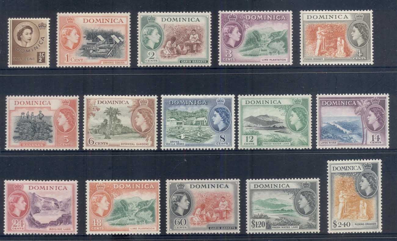 Dominica 1954 QEII Pictorials MLH
