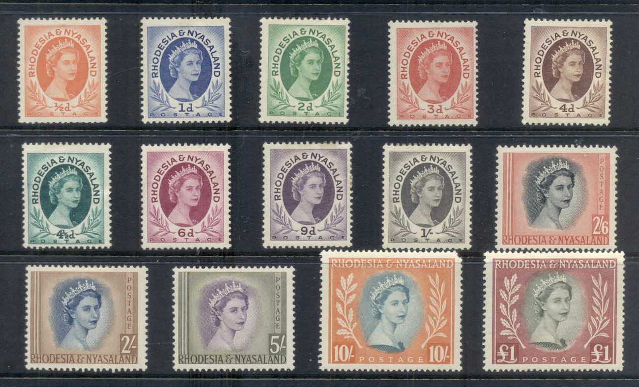 Rhodesia & Nyasaland 1954-56 QEII Definitives Asst (14/16, no 2.5d, 1/3d)(faults) MLH