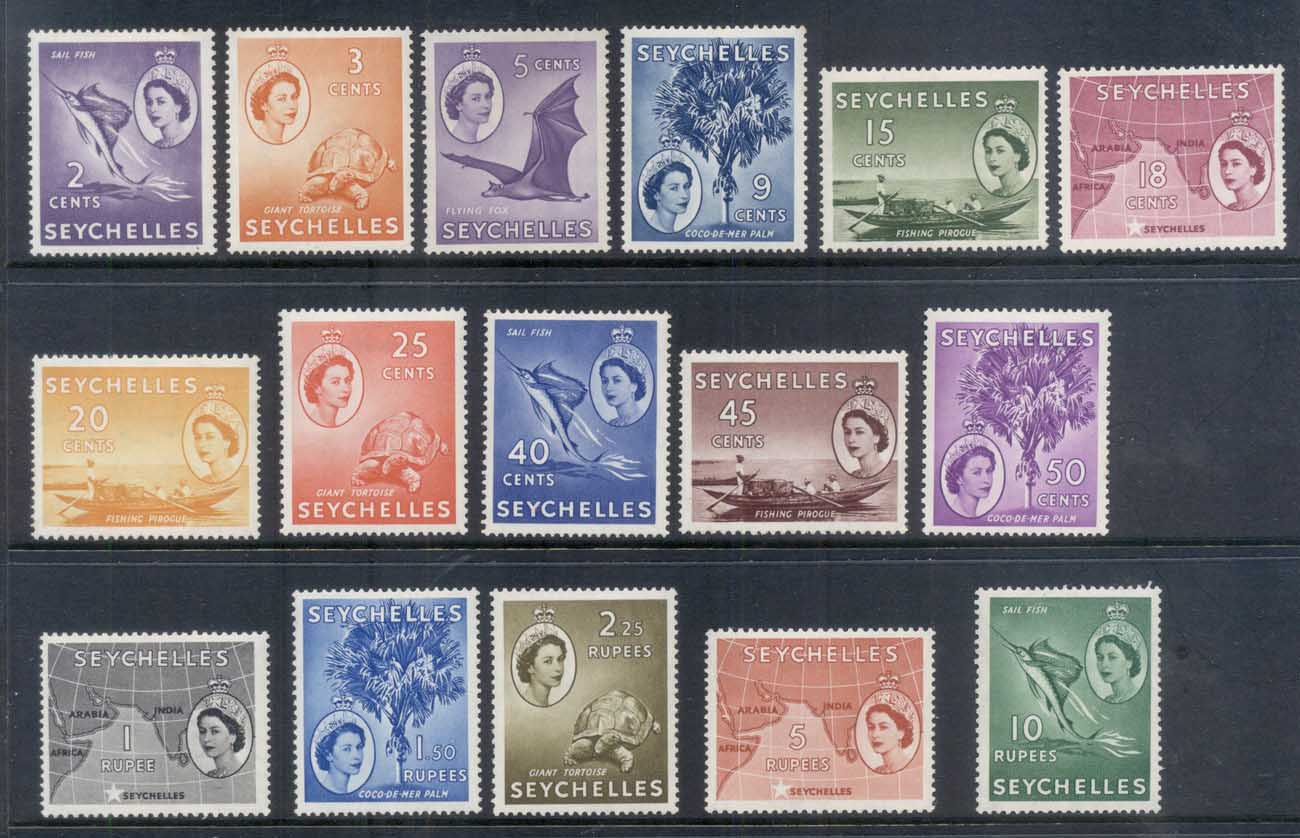 Seychelles 1954 QEII Pictorials (no 35,70c, issued later) MLH