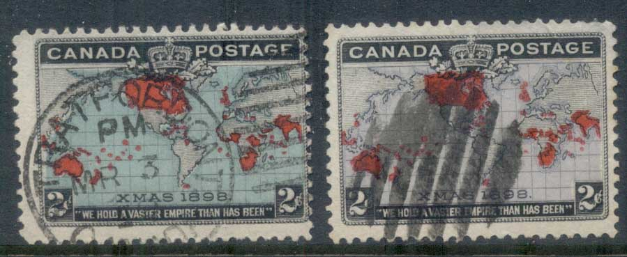 Canada 1898 Xmas, Map of British Empire, 2 shades