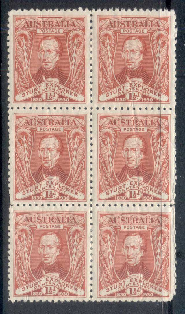 Australia 1930 Capt. Charles Sturt's Exploration of the Murray 2d blk6 MLH/MUH