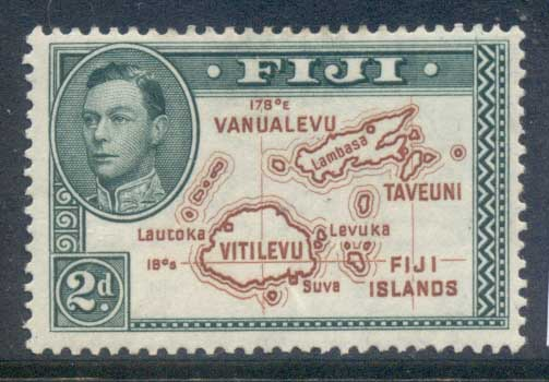 Fiji 1938-55 KGVI Pictorials, Map of Fiji Is 2d, no 180 deg. (gum tones)MLH